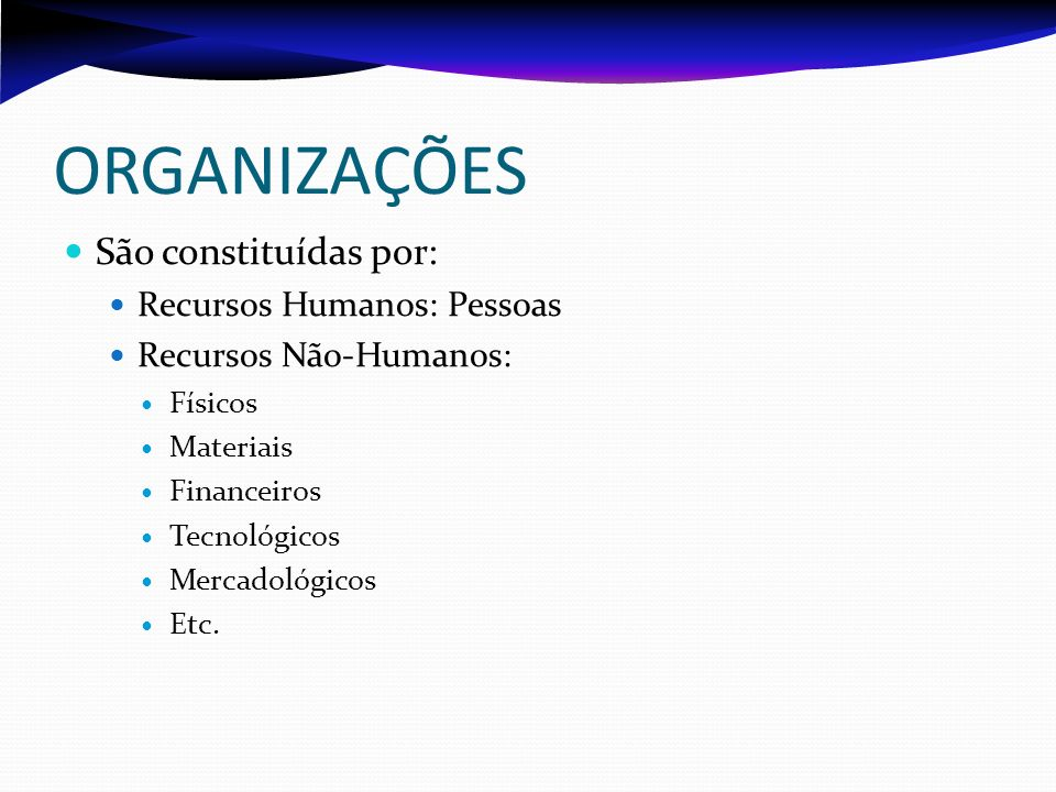 ORGANIZAÇÕES São constituídas por: Recursos Humanos: Pessoas
