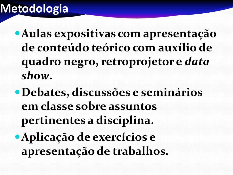 Metodologia Aulas expositivas com apresentação de conteúdo teórico com auxílio de quadro negro, retroprojetor e data show.