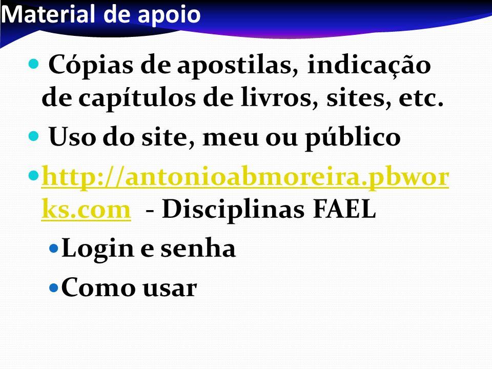 Material de apoio Cópias de apostilas, indicação de capítulos de livros, sites, etc. Uso do site, meu ou público.
