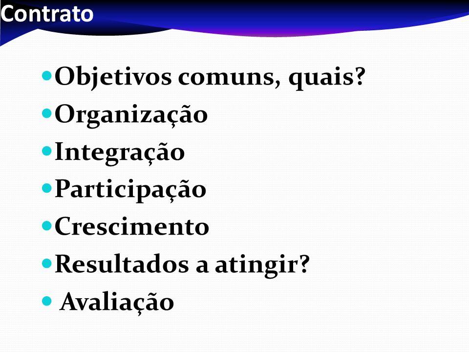 Contrato Objetivos comuns, quais Organização. Integração. Participação. Crescimento. Resultados a atingir