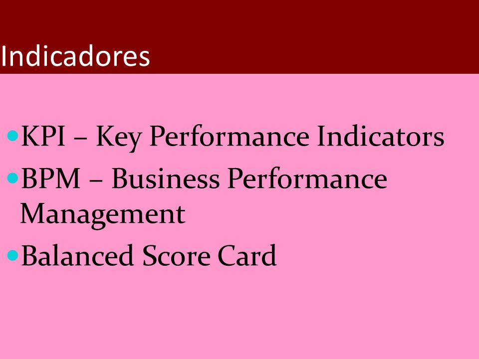 Indicadores KPI – Key Performance Indicators