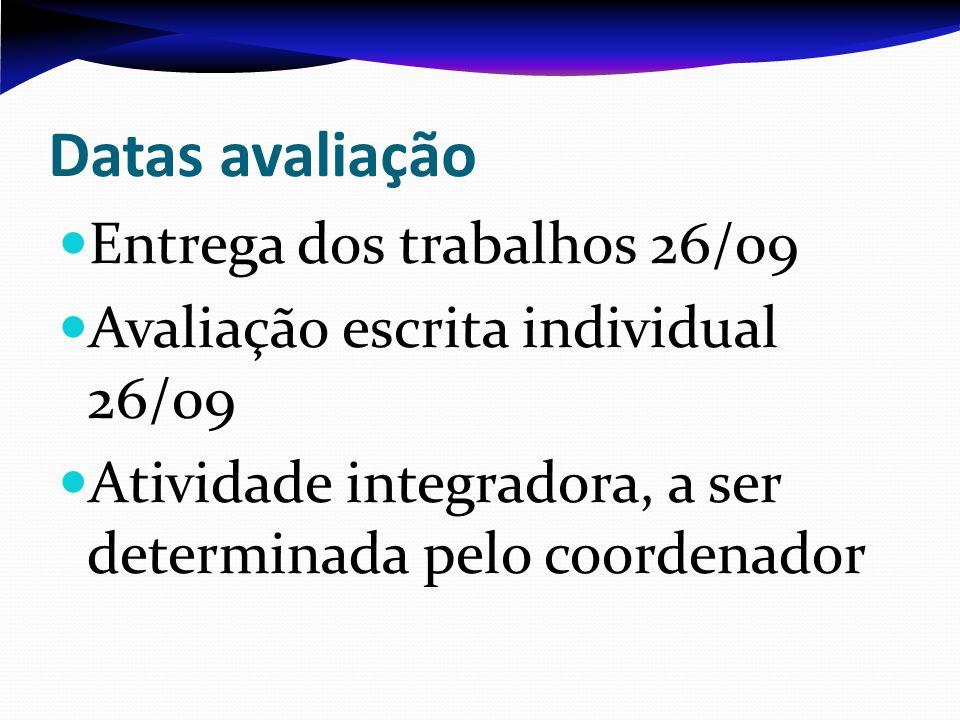 Datas avaliação Entrega dos trabalhos 26/09