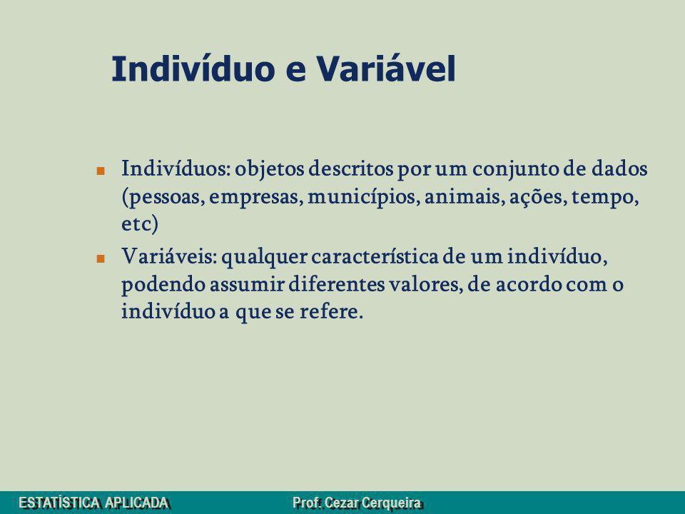 Indivíduo e VariávelIndivíduos: objetos descritos por um conjunto de dados (pessoas, empresas, municípios, animais, ações, tempo, etc)
