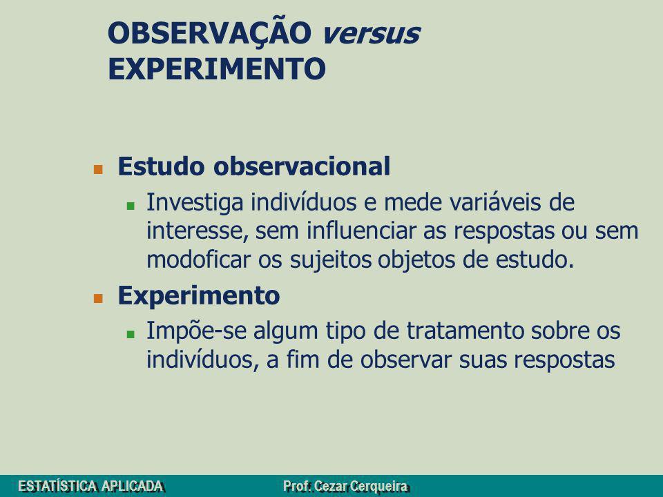 OBSERVAÇÃO versus EXPERIMENTO