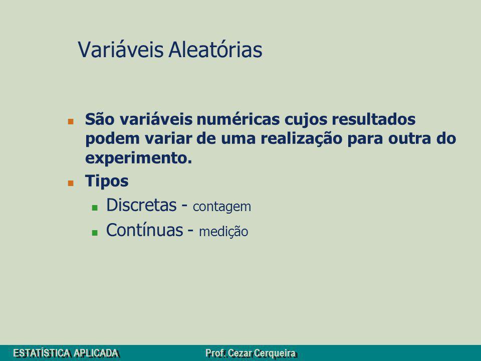 Variáveis Aleatórias Discretas - contagem Contínuas - medição