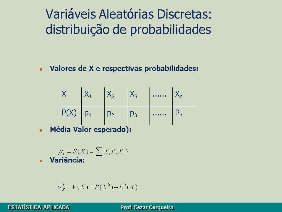 Variáveis Aleatórias Discretas: distribuição de probabilidades