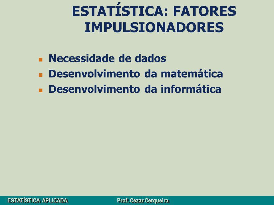 ESTATÍSTICA: FATORES IMPULSIONADORES