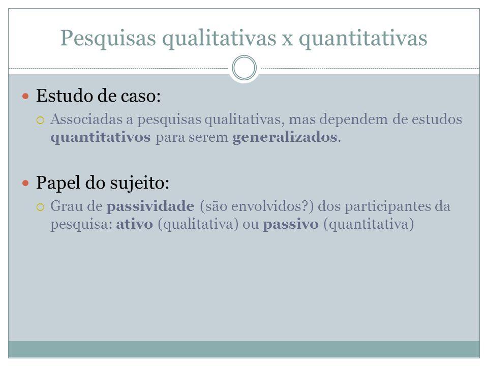Pesquisas qualitativas x quantitativas