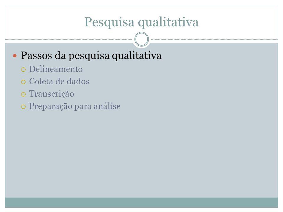 Pesquisa qualitativa Passos da pesquisa qualitativa Delineamento