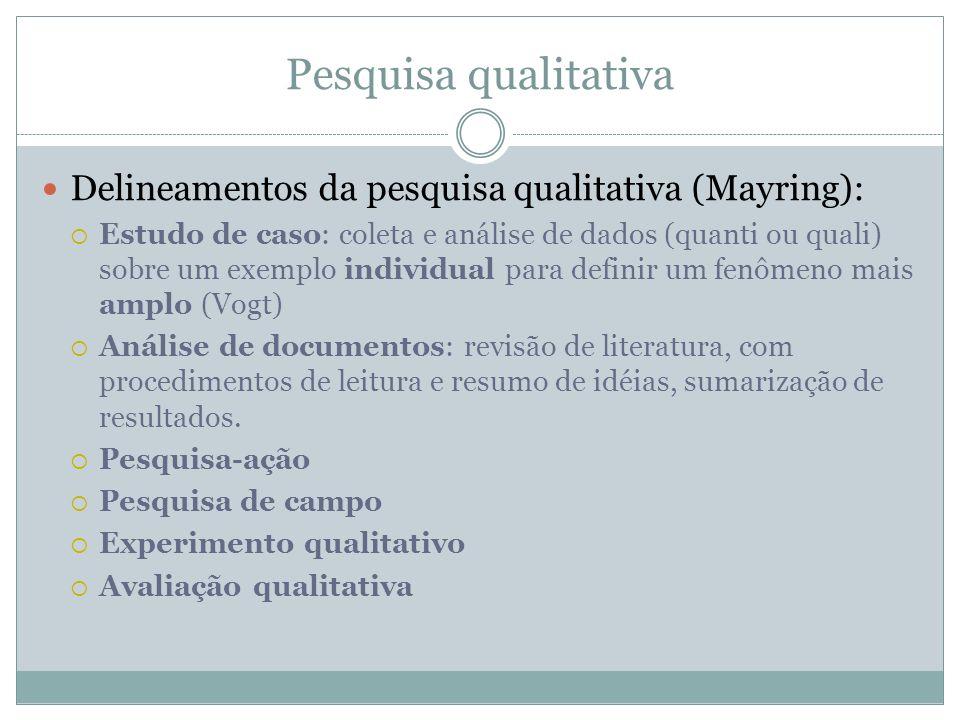Pesquisa qualitativa Delineamentos da pesquisa qualitativa (Mayring):