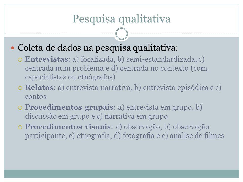 Pesquisa qualitativa Coleta de dados na pesquisa qualitativa: