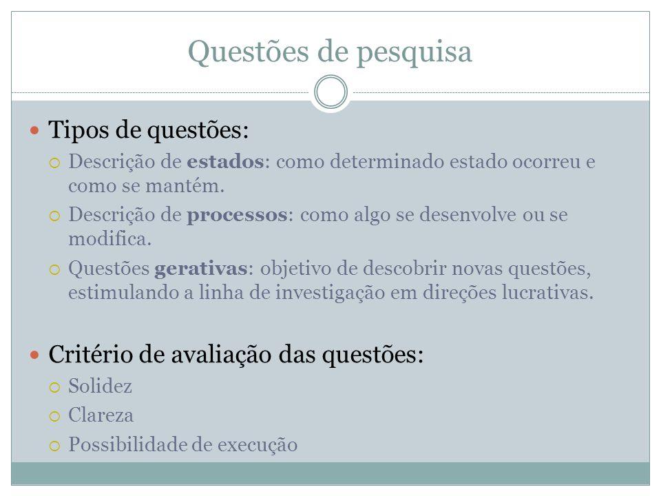 Questões de pesquisa Tipos de questões: