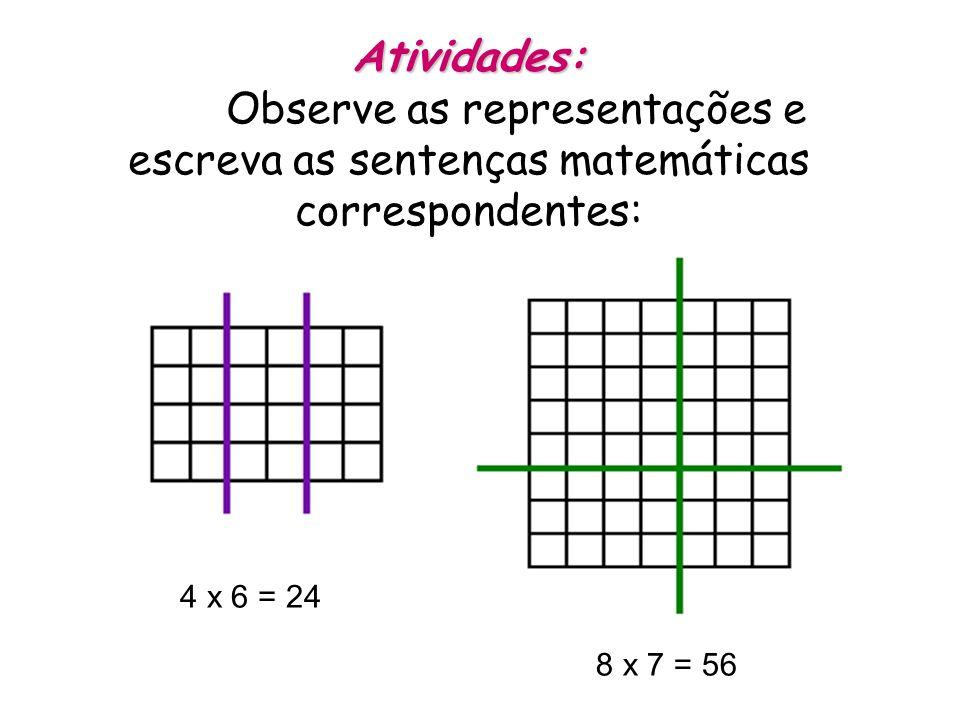 Atividades: Observe as representações e escreva as sentenças matemáticas correspondentes: