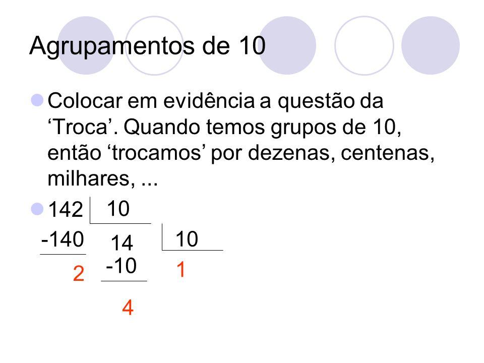 Agrupamentos de 10 Colocar em evidência a questão da 'Troca'. Quando temos grupos de 10, então 'trocamos' por dezenas, centenas, milhares, ...