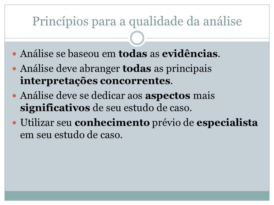 Princípios para a qualidade da análise