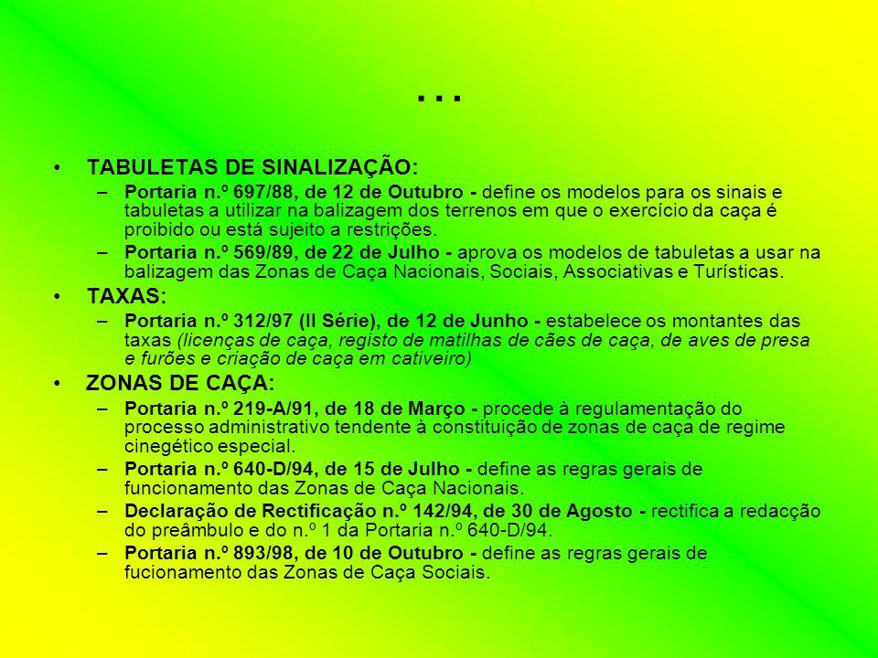 … TABULETAS DE SINALIZAÇÃO: TAXAS: ZONAS DE CAÇA: