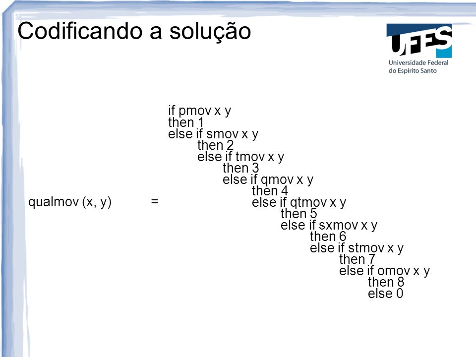 Codificando a solução qualmov (x, y) = if pmov x y then 1