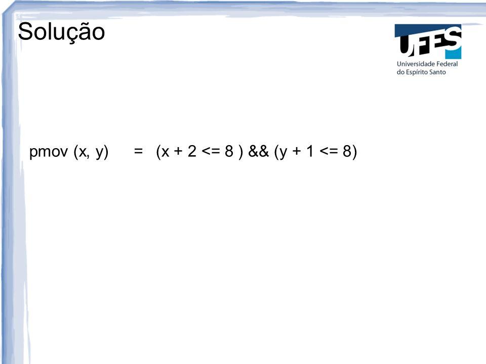 Solução pmov (x, y) = (x + 2 <= 8 ) && (y + 1 <= 8) 6