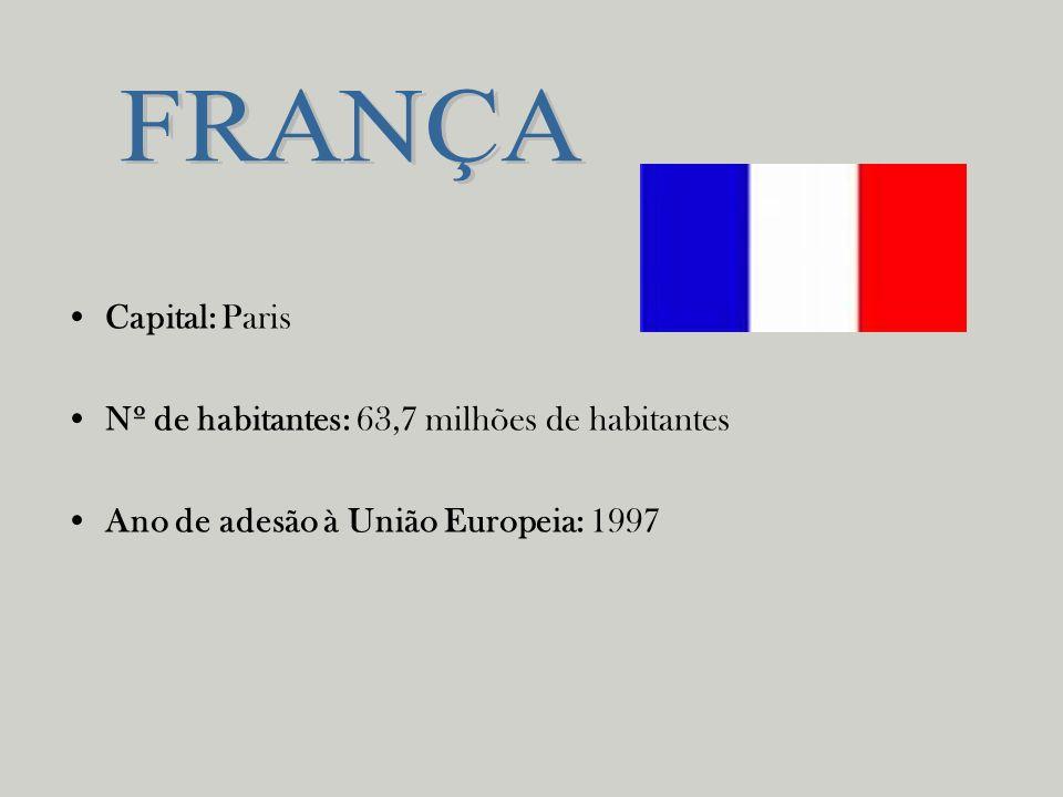 FRANÇA Capital: Paris Nº de habitantes: 63,7 milhões de habitantes