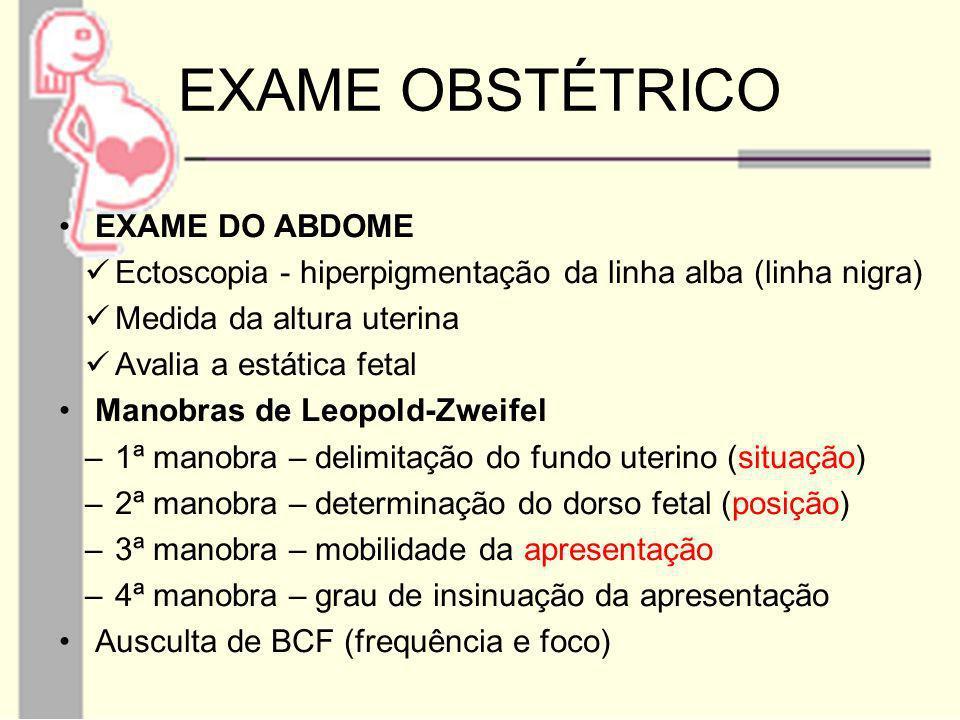EXAME OBSTÉTRICO EXAME DO ABDOME