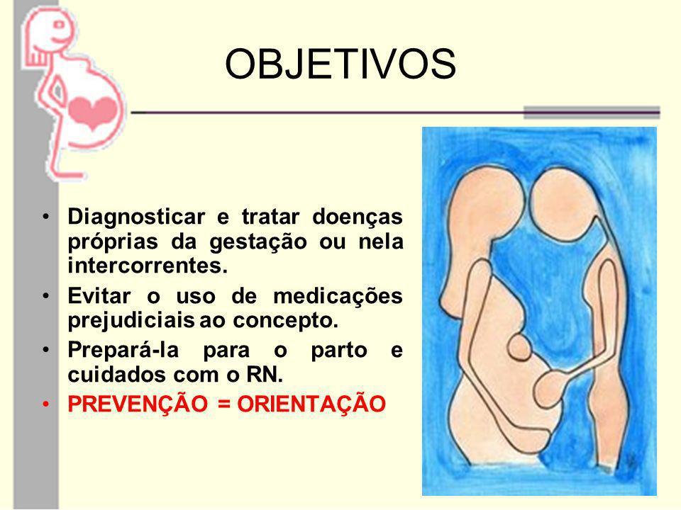 OBJETIVOS Diagnosticar e tratar doenças próprias da gestação ou nela intercorrentes. Evitar o uso de medicações prejudiciais ao concepto.
