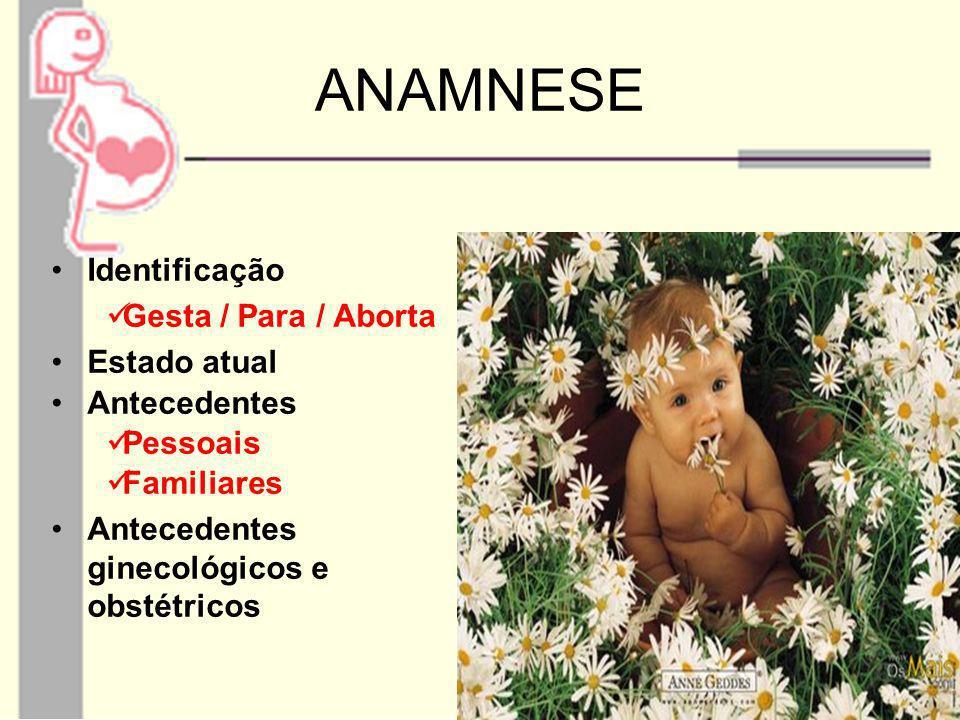 ANAMNESE Identificação Gesta / Para / Aborta Estado atual Antecedentes