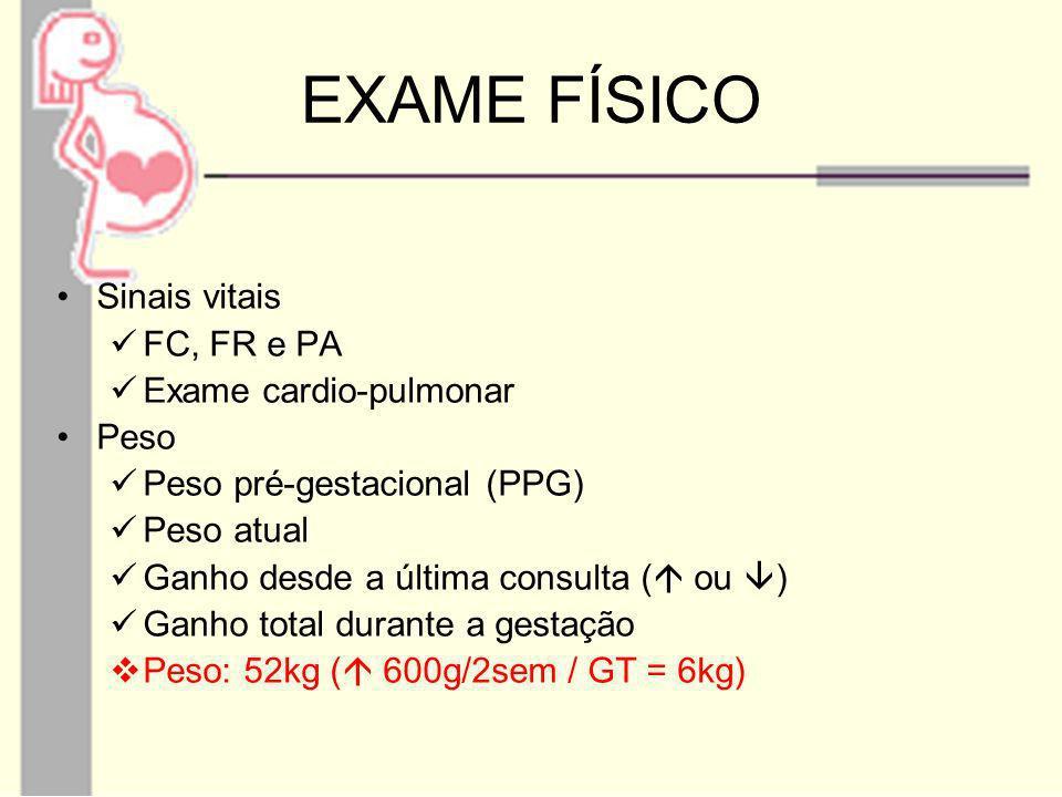 EXAME FÍSICO Sinais vitais FC, FR e PA Exame cardio-pulmonar Peso