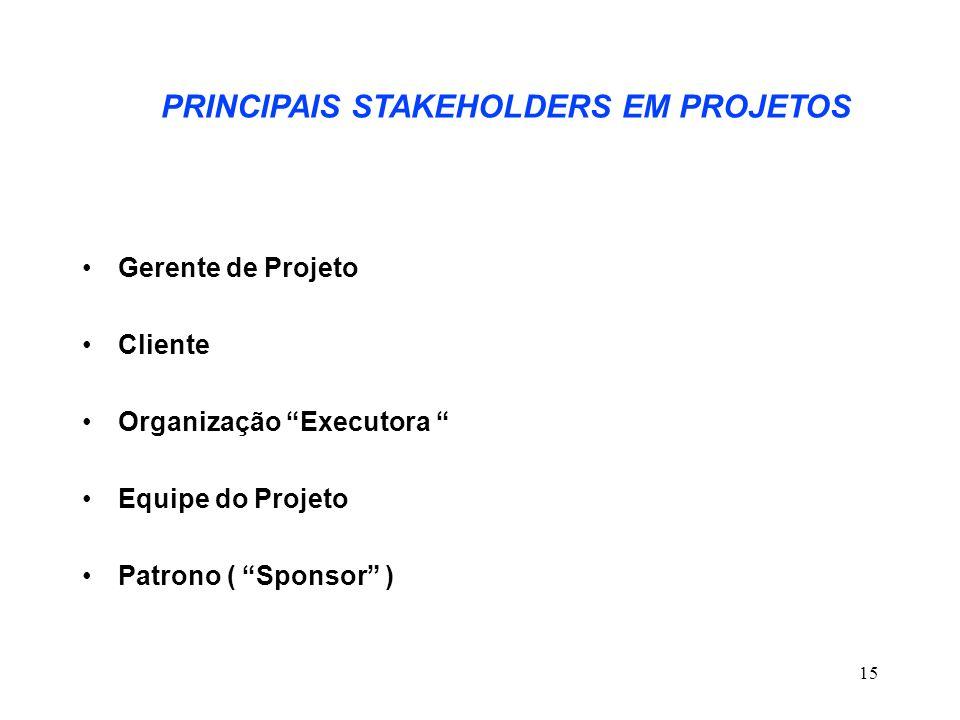 PRINCIPAIS STAKEHOLDERS EM PROJETOS
