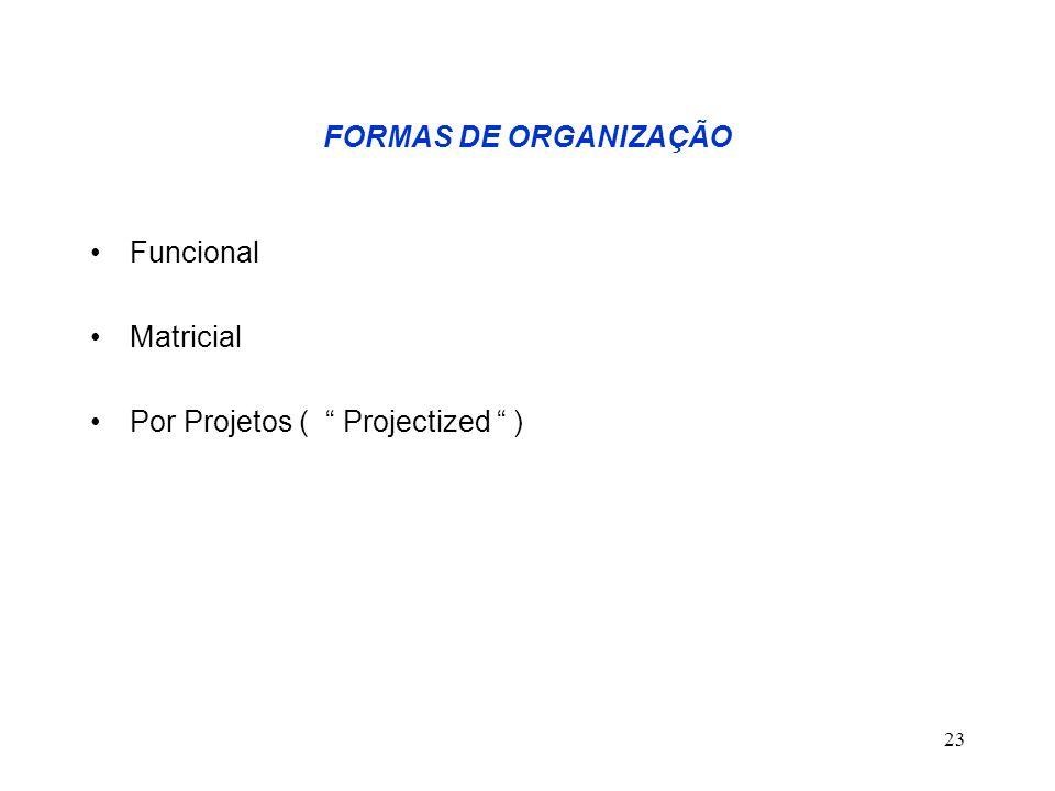 FORMAS DE ORGANIZAÇÃO Funcional. Matricial. Por Projetos ( Projectized ) Project Expeditor.