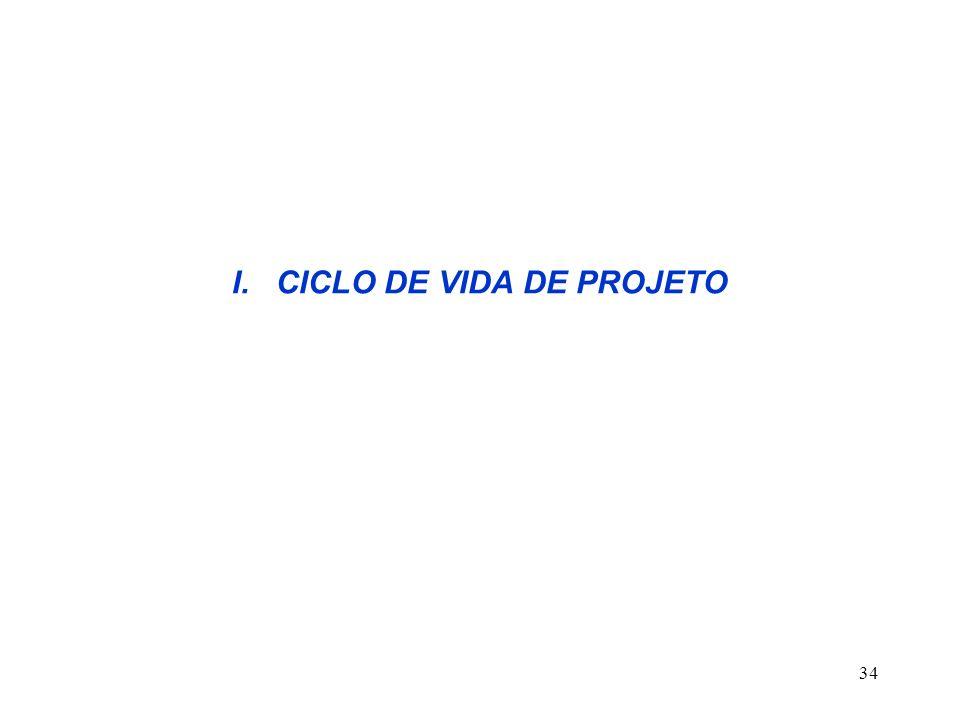 I. CICLO DE VIDA DE PROJETO
