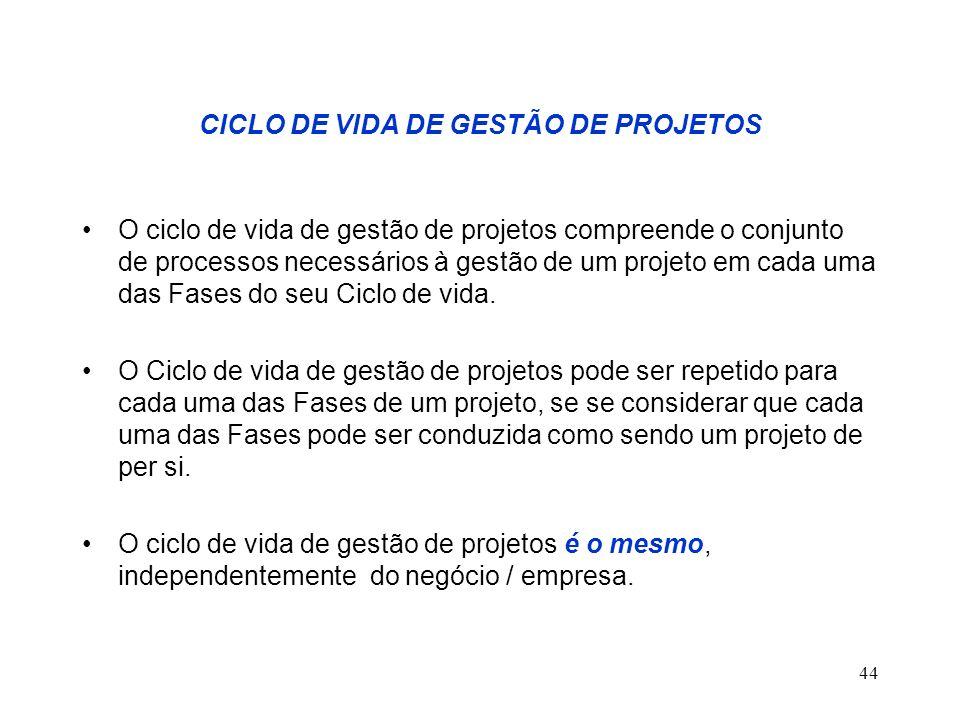 CICLO DE VIDA DE GESTÃO DE PROJETOS