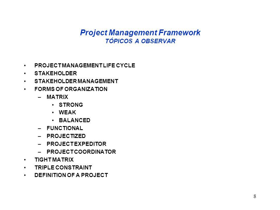 Project Management Framework TÓPICOS A OBSERVAR