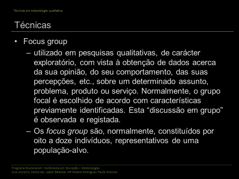 Técnicas Focus group.
