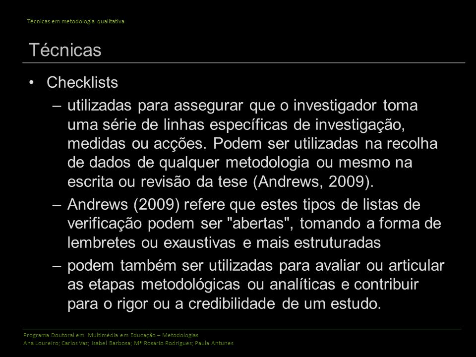 Técnicas Checklists.