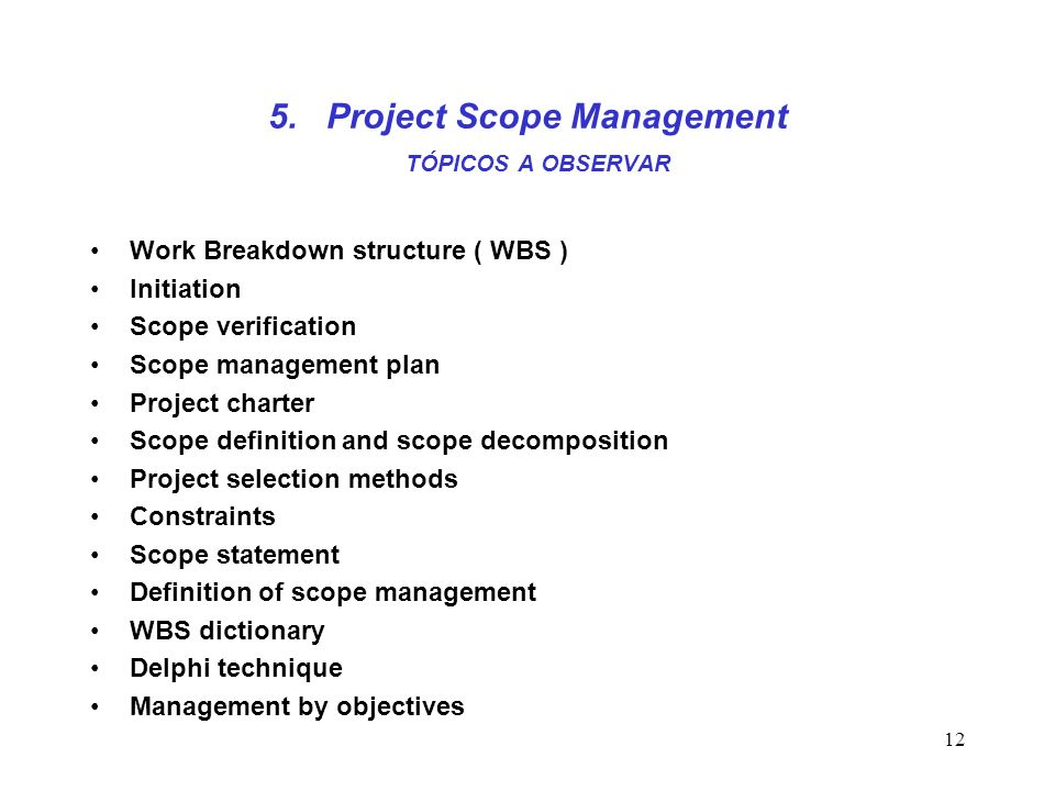 5. Project Scope Management TÓPICOS A OBSERVAR