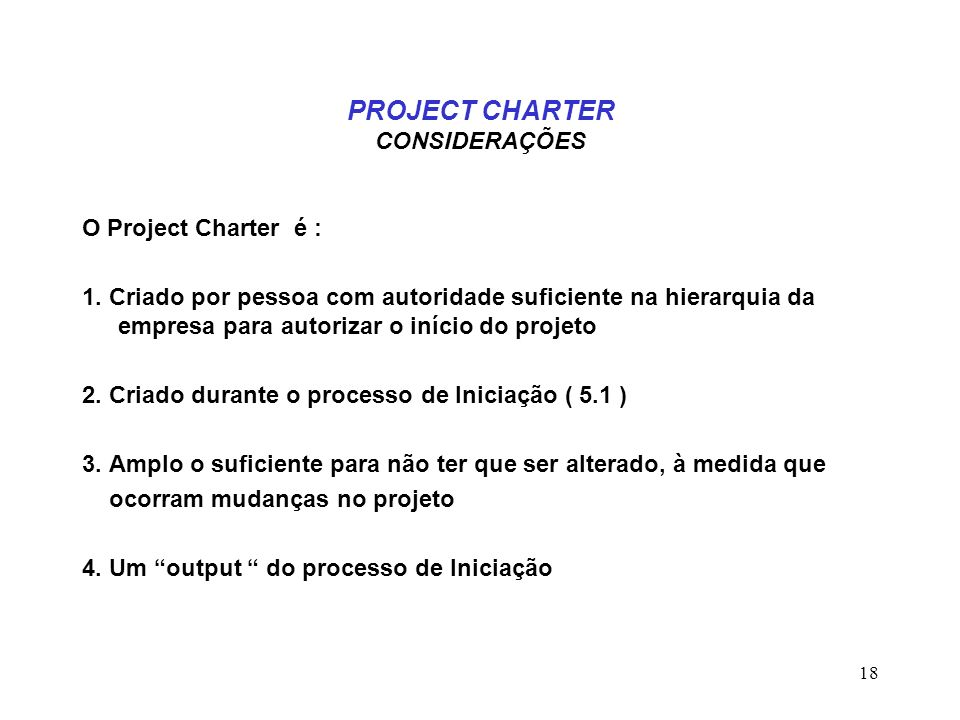 PROJECT CHARTER CONSIDERAÇÕES