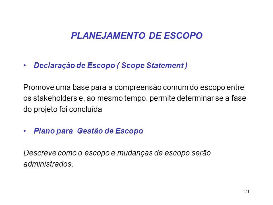 PLANEJAMENTO DE ESCOPO