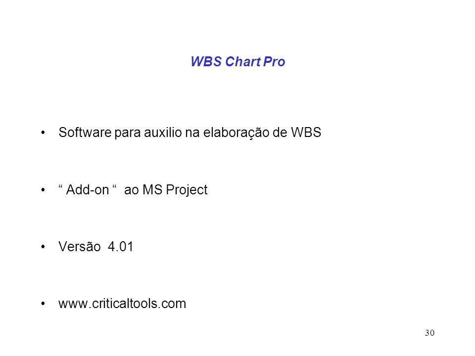 WBS Chart Pro Software para auxilio na elaboração de WBS. Add-on ao MS Project. Versão 4.01.