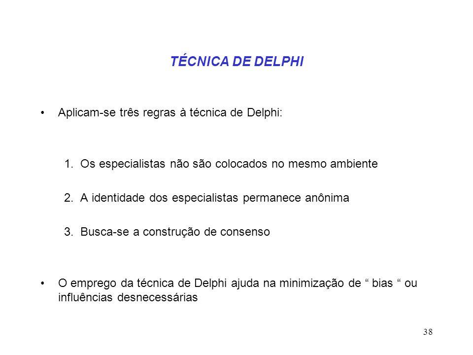 TÉCNICA DE DELPHI Aplicam-se três regras à técnica de Delphi: