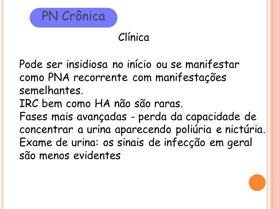 PN Crônica Clínica. Pode ser insidiosa no início ou se manifestar como PNA recorrente com manifestações semelhantes.