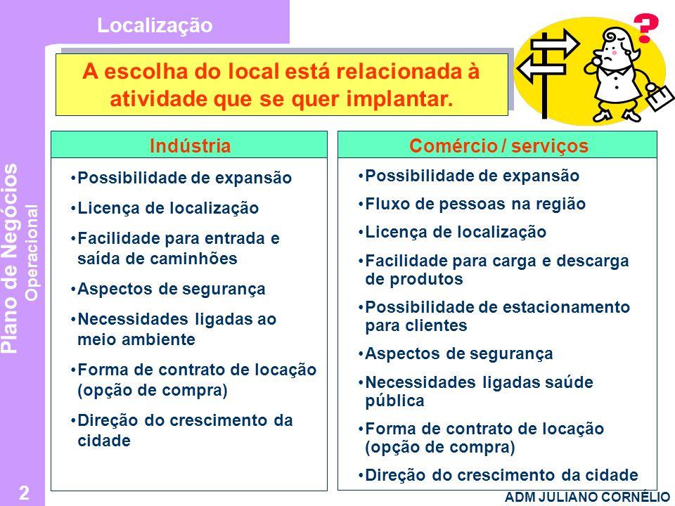 A escolha do local está relacionada à atividade que se quer implantar.