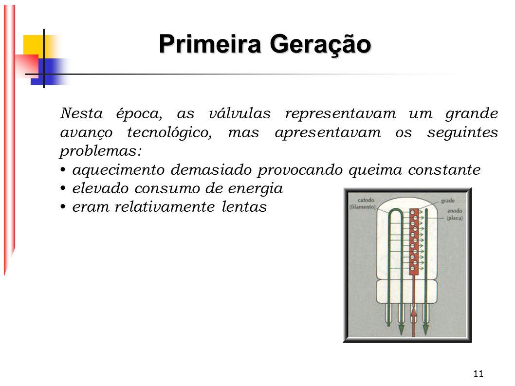 Primeira Geração Nesta época, as válvulas representavam um grande avanço tecnológico, mas apresentavam os seguintes problemas: