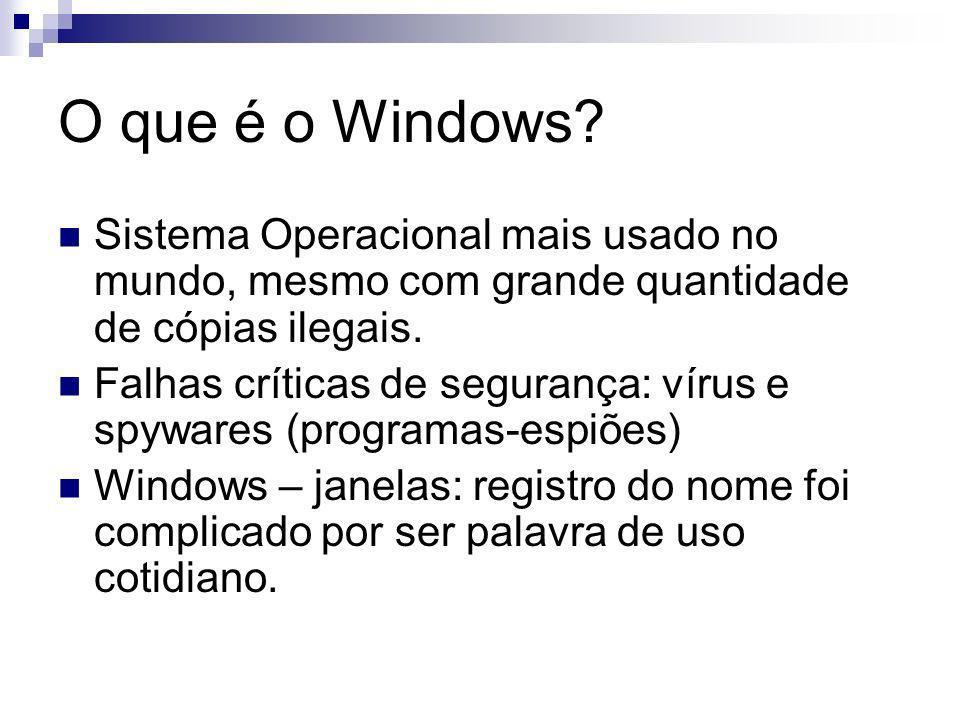 O que é o Windows Sistema Operacional mais usado no mundo, mesmo com grande quantidade de cópias ilegais.