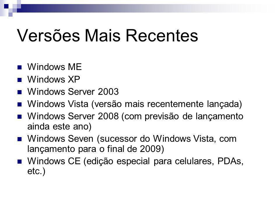 Versões Mais Recentes Windows ME Windows XP Windows Server 2003