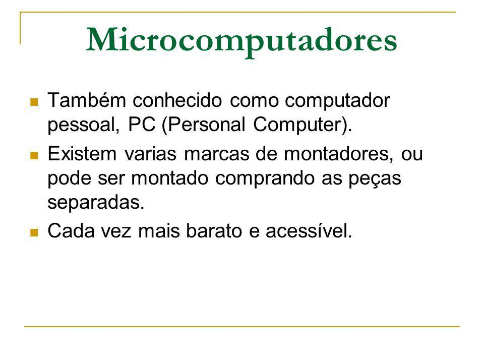 Microcomputadores Também conhecido como computador pessoal, PC (Personal Computer).