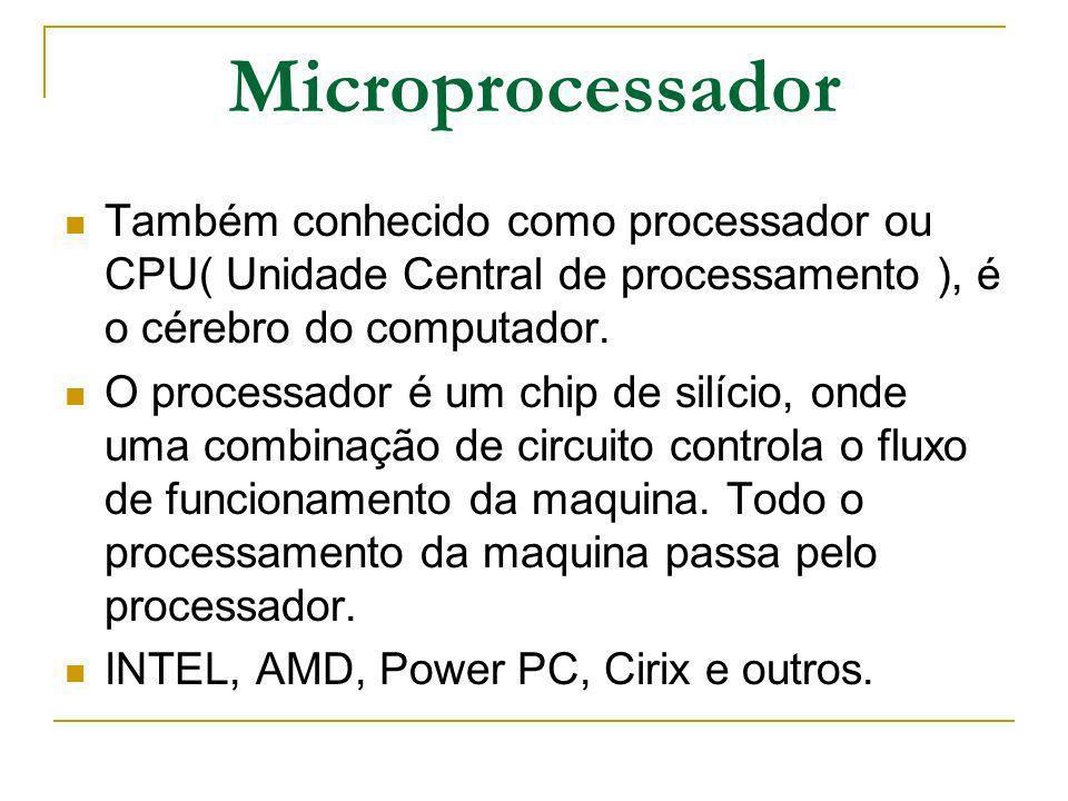 Microprocessador Também conhecido como processador ou CPU( Unidade Central de processamento ), é o cérebro do computador.