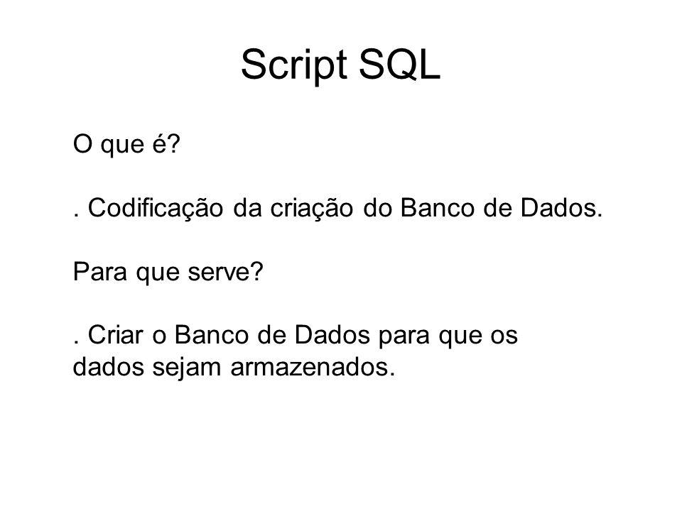 Script SQL O que é . Codificação da criação do Banco de Dados.