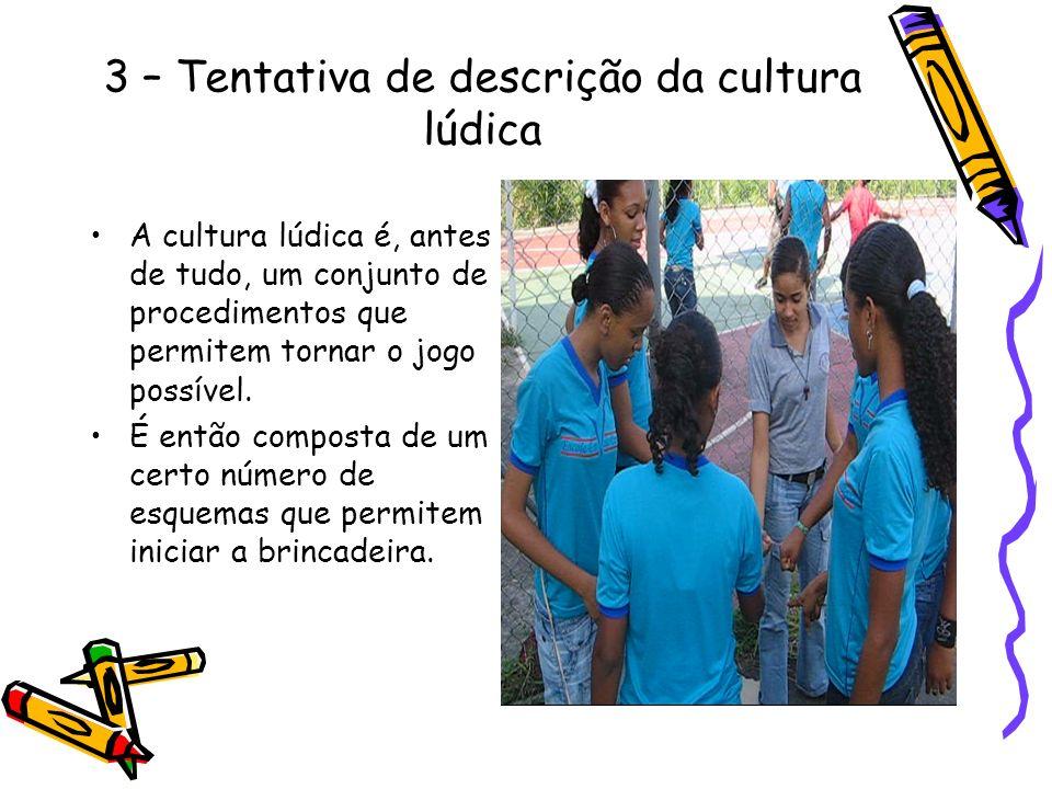 3 – Tentativa de descrição da cultura lúdica