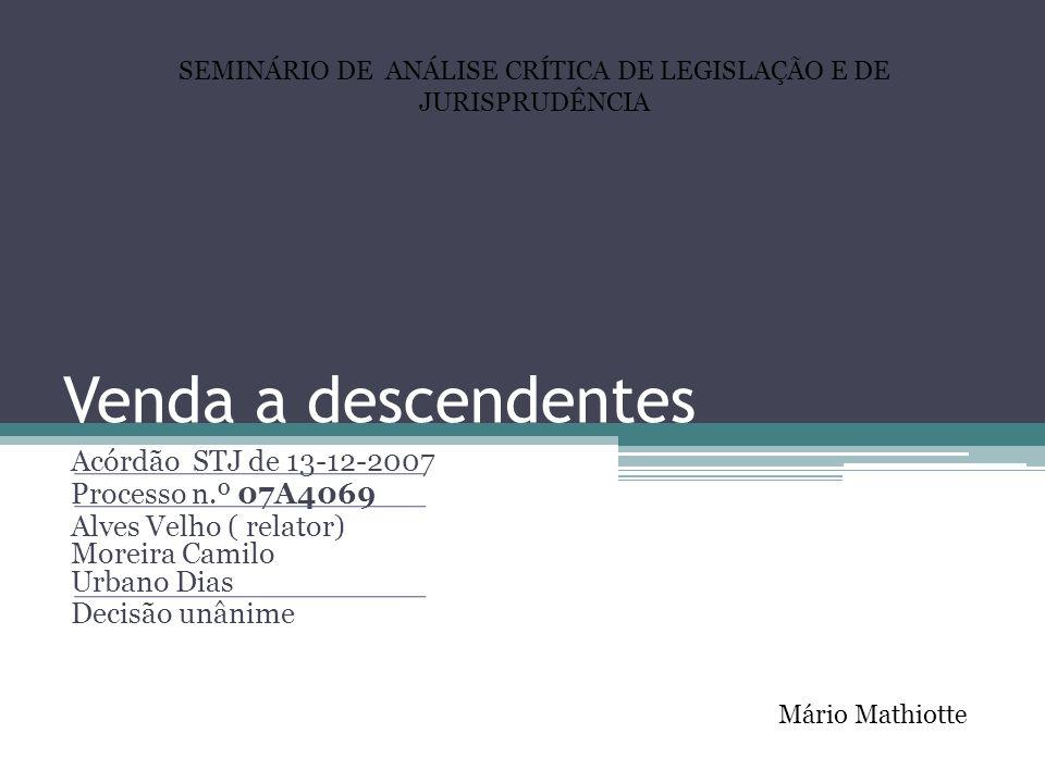 SEMINÁRIO DE ANÁLISE CRÍTICA DE LEGISLAÇÃO E DE JURISPRUDÊNCIA