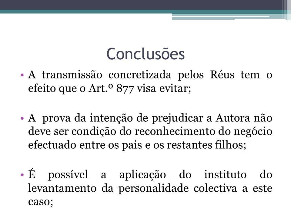 Conclusões A transmissão concretizada pelos Réus tem o efeito que o Art.º 877 visa evitar;